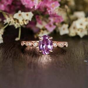 2.50Ct Oval Cut Amethyst Diamond Solitaire Engagement Ring 14K Rose Gold Finish