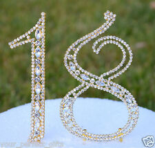 "5"" Rhinestone Gold Number Eighteen Bling Cake Topper 18 Birthday Anniversary"