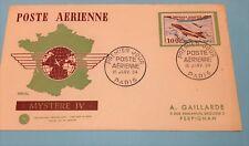 FDC  AVION 100F MYSTERE IV obliteration standard  Paris 16/1/54 TRES RARE