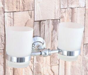 2 Scrub Glass Cup Silver Chrome Bathroom Wall Mounted Toothbrush Holder 2ba797