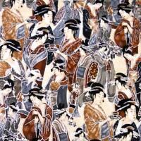 Japanese Geishas, Metallic Silver, Brown, Black  by Kaufman; Cotton Fabric