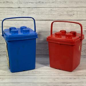 2x Lego Basic Storage Box Empty Red & Blue 1863 Vintage 1990 Good Used Condition
