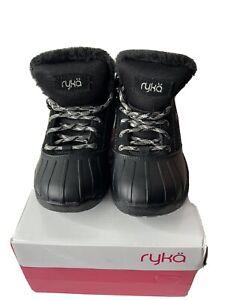 Ryka Meridien Suede Faux Fur Insulated Boots Black Size 6 1/2 W Waterproof Sport