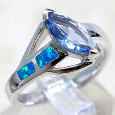 AMAZING BLUE OPAL BLUE TOPAZ 925 STERLING SILVER RING SIZE 6