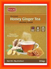 Instant Honey Ginger Tea Original 20 Tea bags - Pocas 100% Natural-Caffeine FREE