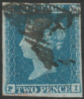 1841 SG14 2d BLUE PLATE 4 GOOD/FINE USED 4 MARGINS IRISH CANCEL (PI)