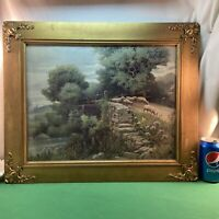 Vtg 1930-40's Shepherd Sheep Cross Stone Stream Bridge Lithograph Print Framed