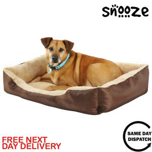 Snooze Deluxe Soft Washable Dog Pet Warm Basket Bed Cushion with Fleece Lining