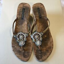 MYSTIQUE CORK WHITE BLUE BEADED GOLD JEWELED BROWN LEATHER THONG SANDAL WEDGES 9