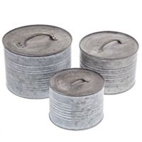 Galvanized Metal Round Box Set of 3 w/Lids Farmhouse Antique Style Cabin Cottage