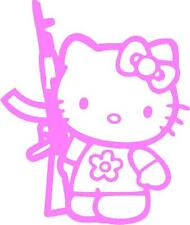 LIGHT PINK Vinyl Decal Hello Kitty AK47 AR15 truck gun fun girl country sticker