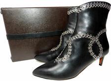 Azzedine Alaia Black Leather Grommet Design Kitten Heel Booties Ankle Boots 37