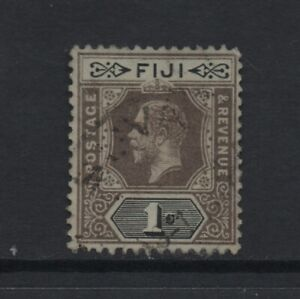 FIJI 1912-23 GV 1s. black/green (white back) Wmk MCA (SG134a) *USED*