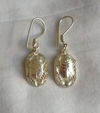 """Egyptian Sterling Silver 3D Cut-Out Scarab Earring 1.5"""" # 129"""