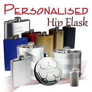 Personalised Hip Flask * matt/polished* 1 - 8 oz  *wedding* groom usher best man