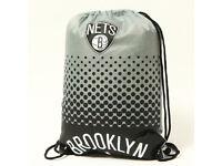 Brooklyn Nets Fan Gymbag NBA Turnbeutel silbergrau Sportbeutel 45x35cm