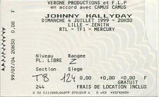 RARE / TICKET BILLET DE CONCERT - JOHNNY HALLYDAY : LIVE A LILLE ( FRANCE ) 1999