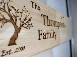 Personalised wooden House Sign, Custom Laser Engraved Outdoor Wooden Name Plaque