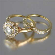 Fashion Round White Topaz Wedding Ring Set 14k Gold Promise Jewelry Set Size6-10