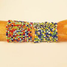 Set of 2 Bright Colors Multi Strand Handmade Cleo Stretch Seed Bead Bracelets