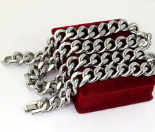 Large Heavy Stainless Steel Men's Cool Cuban Curb Link Chain Necklace 15mm 24''