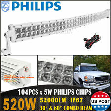 White 52inch 520W PHILIPS Curved LED Light Bar Combo Offroad Jeep SUV UTE 50/54""