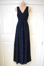 PHASE EIGHT MIDNIGHT BLUE SEQUINED MAXI EVENING DRESS SIZE 14 LACE DETAIL