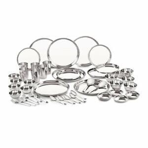 Stainless Steel 24 Gauge Premium Dinner Set For Multipurpose Use Set Of 50 Pcs