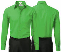 Berlioni Italy Men's Green Premium  Standard Cuff Dress Shirt W/ Defect 2XL