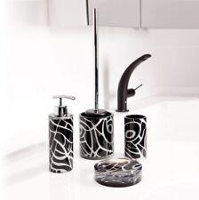 Bad-Accessoires-Set 4-teilig VEGAS schwarz-silber WC-Bürste Seifenspender Mundsp