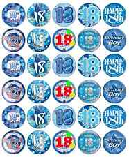 30 x 18th Birthday Boy Blue Cupcake Toppers Edible Wafer Paper Fairy Cake Topper