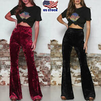 Womens Crushed Velvet High Waist Flare Pants Ladies Casual Bell Bottoms Trousers