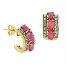 Gold Tone over Silver Diamond Accent & Lab Created Pink Opal Half Hoop Earrings