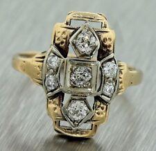 Antique Art Deco 1920s Estate 14K Two Tone Yellow Gold Diamond Cocktail Ring