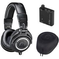 Audio-Technica ATH-M50X Studio Monitor Headphone w/ Slappa Case Amp Black Bundle