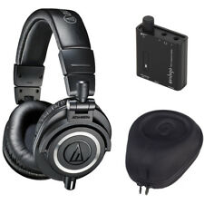 Audio-Technica ATH-M50X Studio Monitor Headphones w Case & FiiO A1 Amplifier