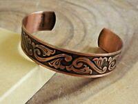 Pure Copper Arthritis Bracelet - Solid Copper Adjustable Cuff Bracelet - Swirl