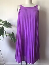 TRELISE COOPER PURPLE SUNRAY PLEATED SWING DRESS (labelled Size 12)
