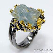 Handmade Ring Natural Aquamarine 925 Sterling Silver Ring Size 7/R28998