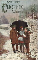 Christmas Kids on Path w/ Umbrella TUCK Oilette #8503 c1910 Postcard