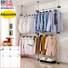 Portable Adjustable Clothes Rail Garment Coat Hanging Display Stand Storage Home