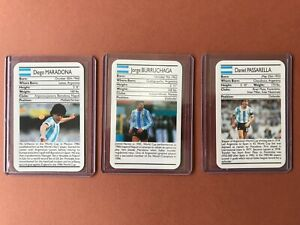lot 3 Cartes 1988 Ace Sporting Greats Football Diego Maradona Burruchaga etc...