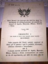 REGIO DECRETO MILITARIZZAZIONE CONVITTI AQUILA MACERATA MILANO SALERNO SIENA