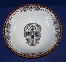 "WONDERFUL 222 FIFTH PORCELAIN LA CALAVERA HALLOWEEN SUGAR SKULL 10"" SERVING BOWL"