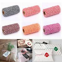 100m Twine String Gift Wrap Tags Ribbon Cotton Rope Wedding DIY Craft Decoration