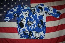 MAURICES Blue/Black Floral Print Top Size Large: top/shirt/casual/dressy  #4942