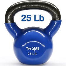 Yes4All 25 Lbs Vinyl Coated Kettlebell Solid Cast Iron Kettlebells Weights Gym²4