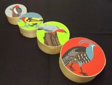 Band Wood Nesting Boxes X4 Handpainted BIRDS woodpecker,quail,partridge,tanager