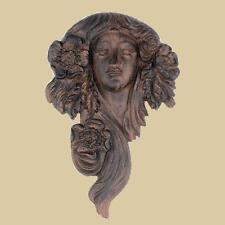 Flower Goddess garden face plaque ~ cast iron ~ Leaf Green Woman Flora Demeter