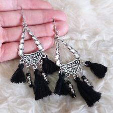 Vintagte Womens Bohemian Hippies Antique Black Tassels Bead Dangle Hook Earrings